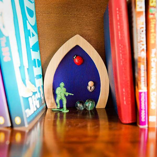Blue ladybird fairy door for Fairy door pattern