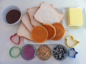 Ingredients for making fairy bread for the fairies to leave outside the fairy door