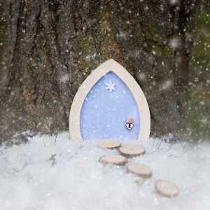 blue-sparkle-fairy-door-outside-snow