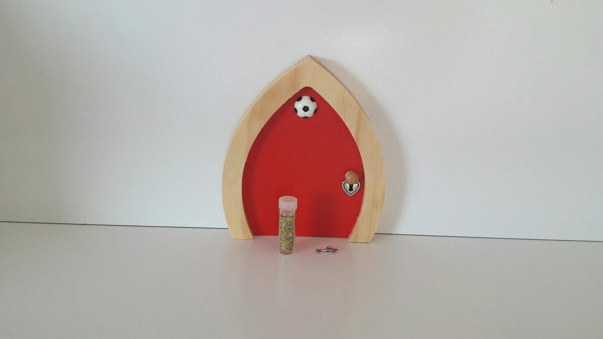 Red football fairy door for Red elf door