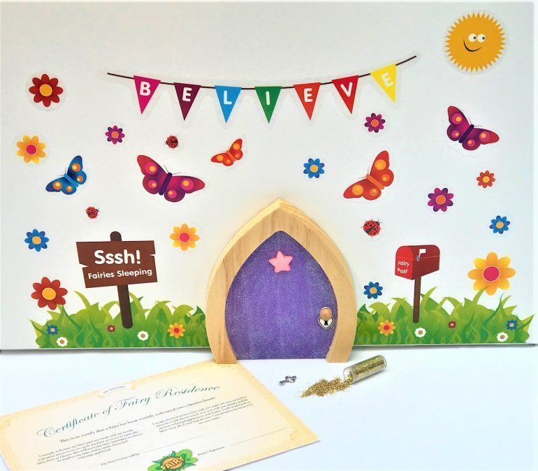 Fairy Door & FREE Wall Stickers - Purple Sparkle Star Design