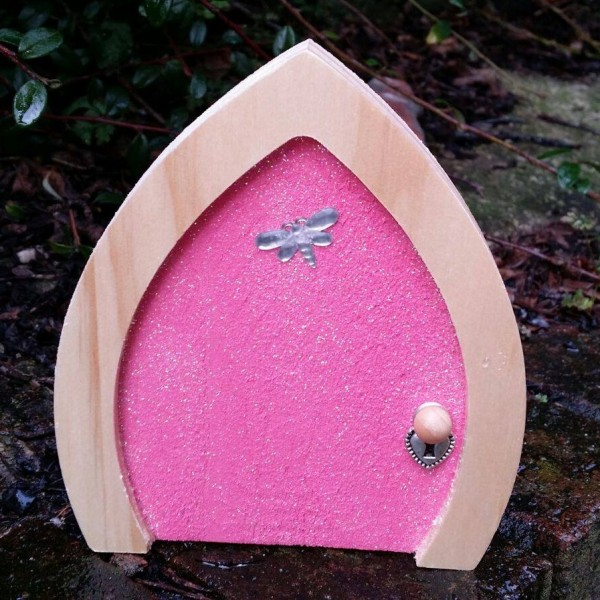 Pink sparkle fairy door dragonfly design for Real fairy doors